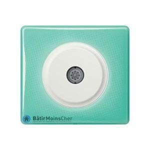 Prise TV simple Céliane blanc - Plaque 50's turquoise