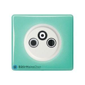 Prise TV R SAT Céliane blanc - Plaque 50's turquoise