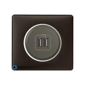 Prise double chargeur USB Céliane graphite - Plaque Basalte