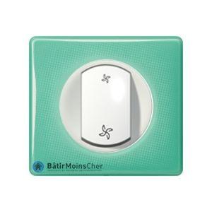 Interrupteur VMC Céliane blanc - Plaque 50's turquoise