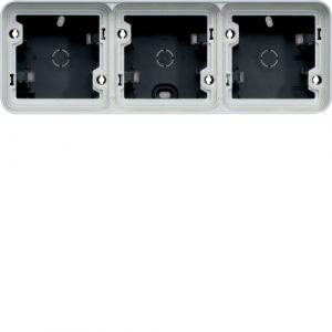 Boîte en saillie 3 postes horizontale Cubyko gris