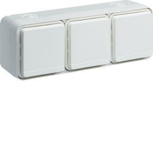 Triple prise 2P+T horizontale blanche complète saillie Cubyko