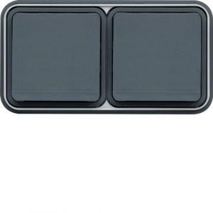 Double prise 2P+T horizontale grise complète à encastrer Cubyko