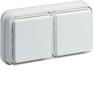 Double prise 2P+T horizontale blanche complète à encastrer Cubyko