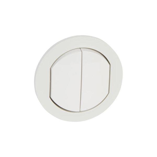 Enjoliveur va et vient / poussoir double - IP44 - Blanc - 067802 - Legrand