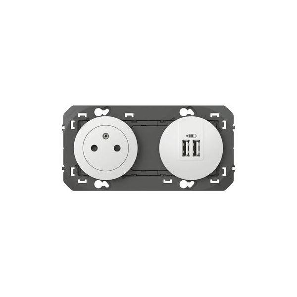 Prise de courant 2P+T Surface + module de charge 2 USB TypeA dooxie 3A précâblés finition blanc - 600342 - Legrand