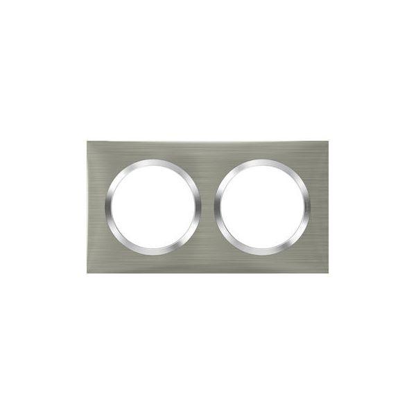 Plaque carrée dooxie 2 postes finition effet inox brossé - Legrand - 600872
