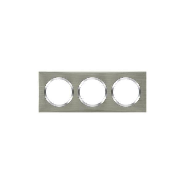 Plaque carrée dooxie 3 postes finition effet inox brossé Legrand 600873