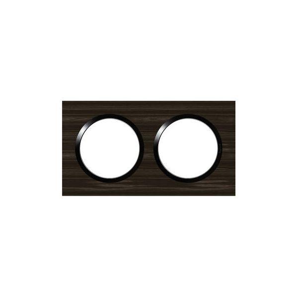 Plaque carrée dooxie 2 postes finition effet bois ébène - 600882 - Legrand
