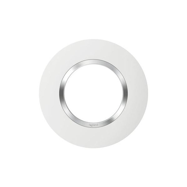 Plaque ronde dooxie 1 poste finition blanc avec bague effet chrome - 600973 - Legrand