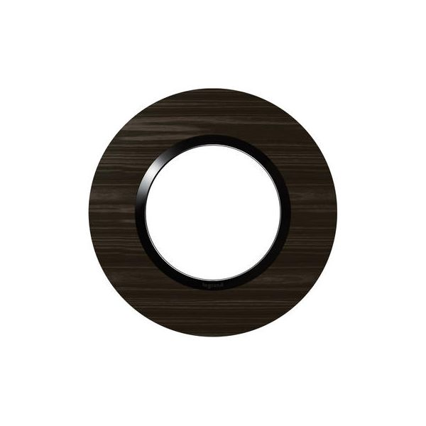 Plaque ronde dooxie 1 poste finition effet bois ébène - Legrand - 600979