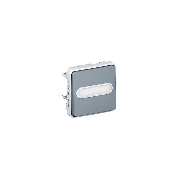 Poussoir lumineux porte-étiquette Plexo composable - Gris