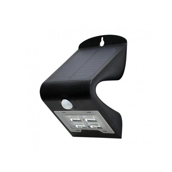 Applique Murale LED Solaire 2W 4000°K Noir + Détecteur - 70473 - Vision-EL