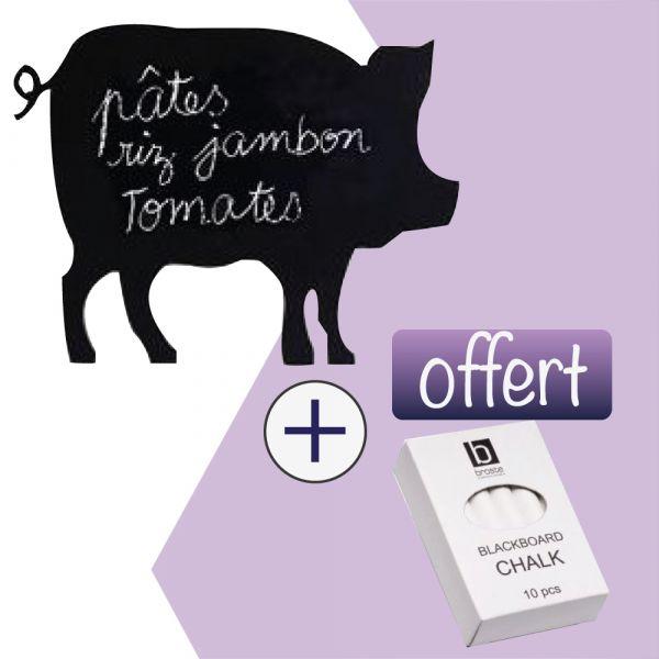 Sticker ardoise cochon + craie Offerte