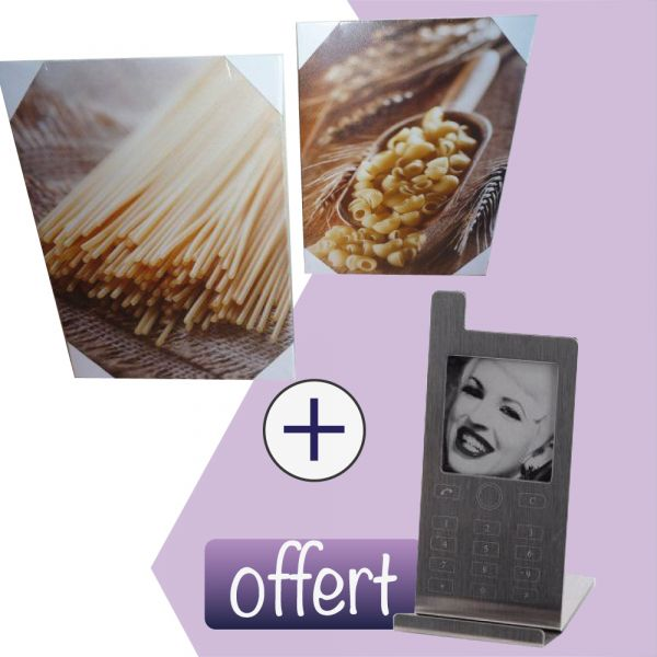 lot de 2 toiles cuisine +  Cadre photo portable Offert