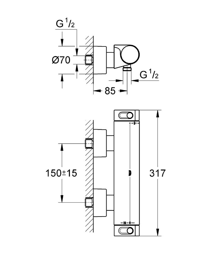 mitigeur thermostatique de douche grotherm 2000 thermostatique de douche robinetterie. Black Bedroom Furniture Sets. Home Design Ideas